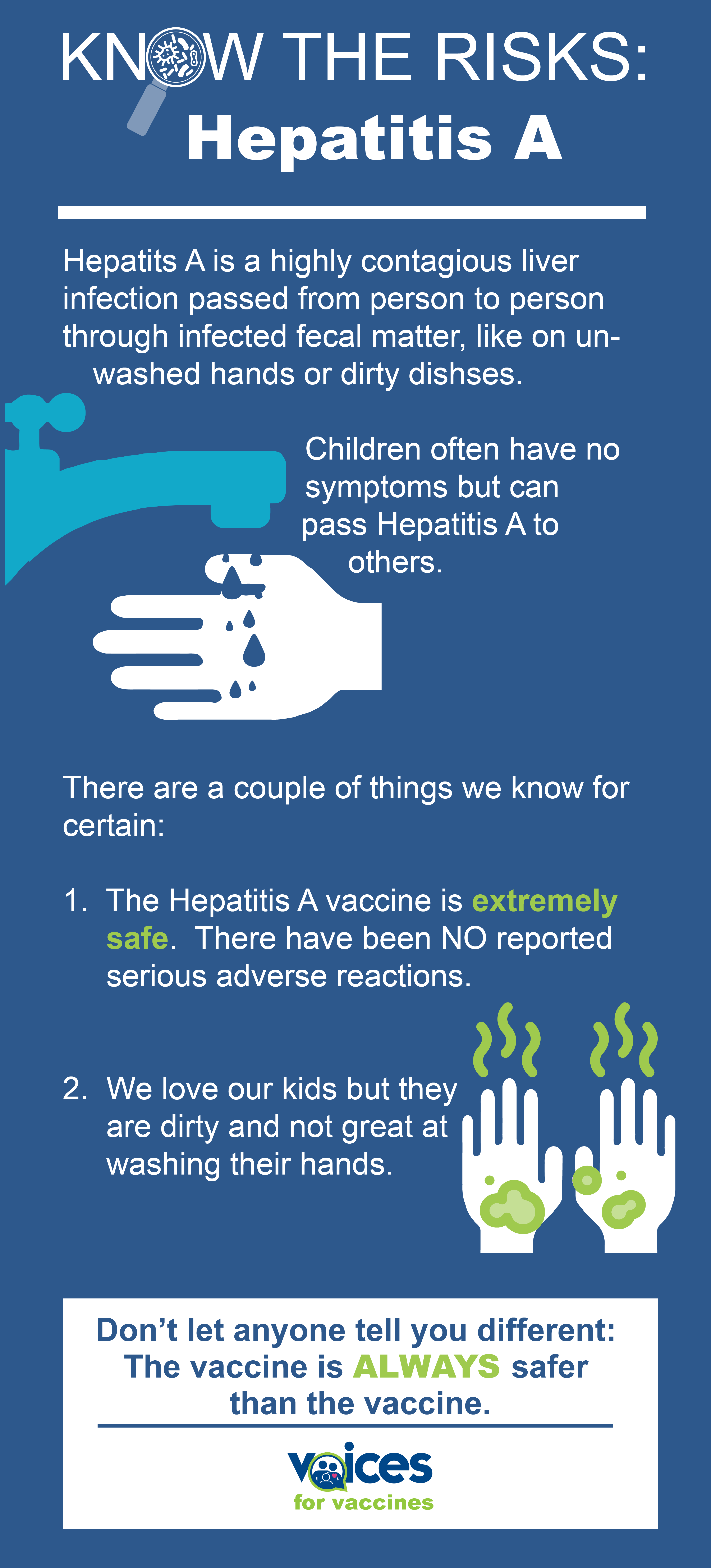 Know the risk: Hepatitis A FACT: Hep A is highly contagious and passed person-to-person through things like unwashed hands. FACT: Kids are dirty and not great at washing hands. FACT: Many kids infected with Hep A have no symptoms but can pass it on to others like their grandparents. FACT: The Hep A vaccine is EXTREMELY safe. There have been NO reported serious adverse reactions to the vaccine. FACT: The Hep A vaccine is the BEST way to protect your child and family from Hepatitis A.